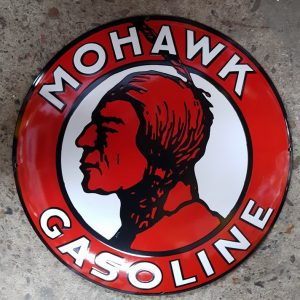 MOHAWK GASOLINE EMAILLEN RECLAME BORD
