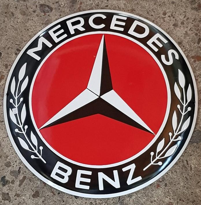 Mercedes Benz Logo Emaillen Bord Groot Zwart Rood Americanshop