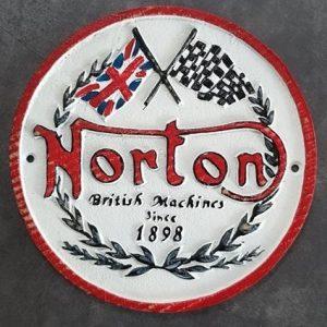 NORTON BRITISH MACHINES SINCE 1898 GIETIJZEREN RECLAME DECORATIE BORD