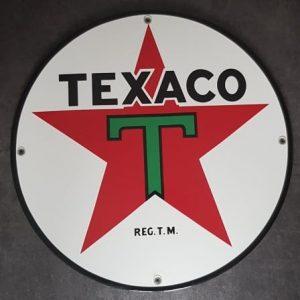 TEXACO GASOLINE EMAILLEN RECLAME BENZINE BORD